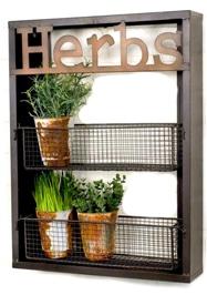 Industrial Metal Country Herbs Wall Shelf Planter Holder Kitchen Garden Herb Organizer